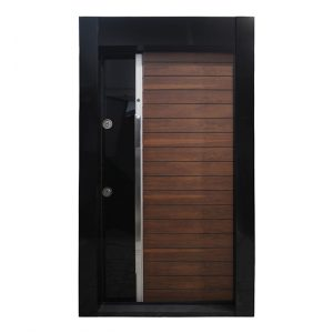 درب ضد سرقت مدرن شیشه ای مشکی